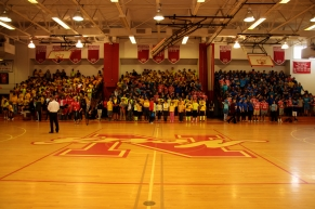 The Freshman and Junior Classes before the rally (Photo by Nick Dirschel)