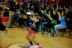 Allie Grinavic hula hoops during the captain's competition. (Photo by Nick Dirschel)