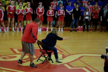 Mrs. Rushlow defeats Mr. Herber after an intense game of musical chairs (Photo by Nick Dirschel)